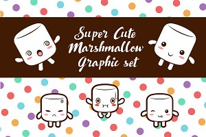 Cute Marshmallow Graphic set