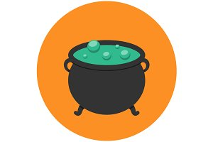 Witch cauldron icon flat