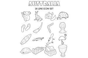 Australia icons set, outline style