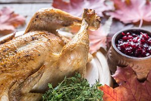 Roasted chicken with cranberry sauce