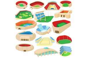 Sport stadium set, cartoon style