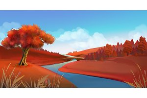 Autumn background. Vector graphics