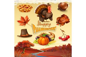 Thanksgiving cartoon objects. Vector