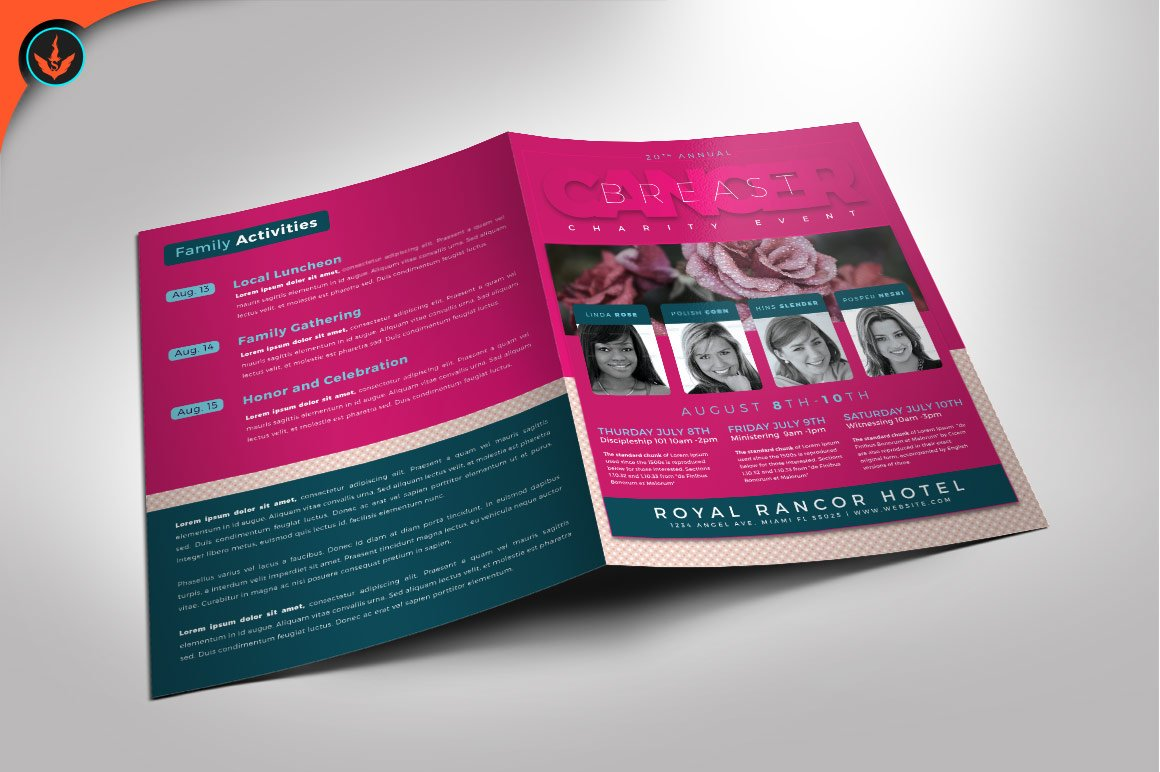 Breast Cancer Charity Event Program ~ Brochure Templates ~ Creative ...
