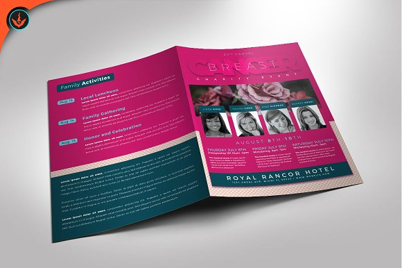 breast cancer charity event program brochure templates creative