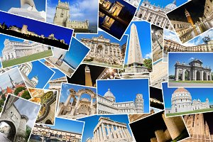 Collage of European landmarks