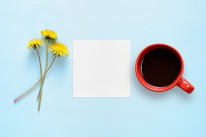 Dandelion flowers, paper and coffee