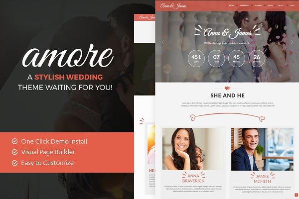 WordPress Wedding Themes: ThemeBear - Amore: WordPress Wedding Theme