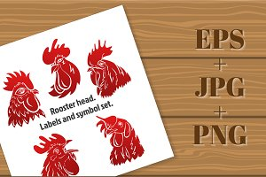 Rooster head. Labels set - 2