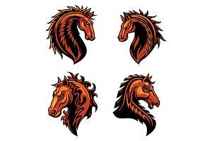 Fire horse head mascots