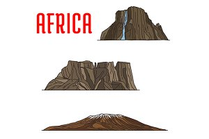 Travel landmarks of Africa