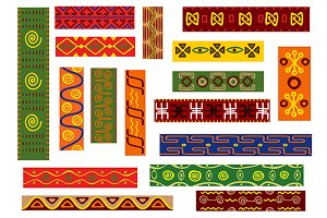 African ethnic ornament set