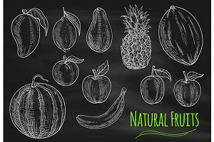 Natural fruits chalk sketches