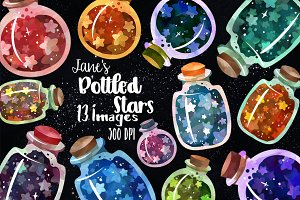 Watercolor Bottled Stars Clipart