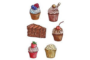 chocolate cake and cupcake sketches