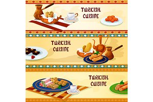 Turkish cuisine dessert menu banners