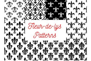 Fleur-de-lis seamless patterns set