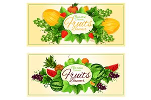 Fruits banners with oval badge