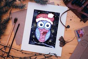 Xmas Owl card