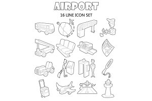 Airport set icons, outline style
