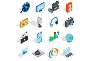 Media icons set, isometric 3d style