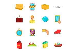 Logistics icons set, cartoon style