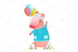 Little Baby Pig with Balloons