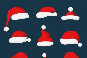 Santa Claus red hat vector set