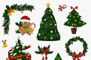 Christmas tree flat icons set vector