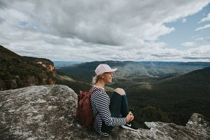 Girl Hiking at the Blue Mountains