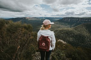 Girl Hiking at the Blue Mountains V2