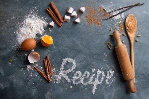 Wooden kitchen utensils with spices