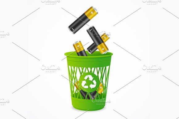 Recycling Battery Concept. Vector - Illustrations