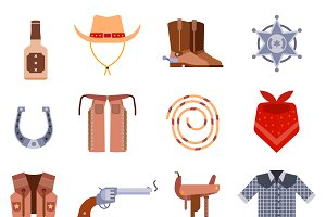 Vector western cowboys icons