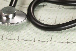 Stethoscope on electrocardiogram
