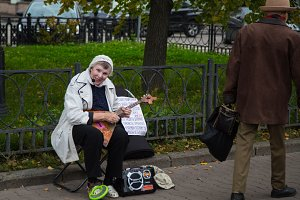 Lady playing the balalaika