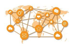 World map social media icons orange