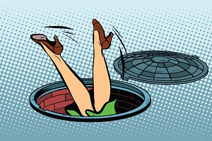 Retro woman fell into a manhole