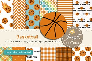 Basketball Digital Papers & Clipart