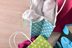 Shopping bags with clothes top
