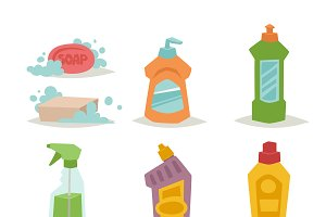 Cleanser bottle vector set