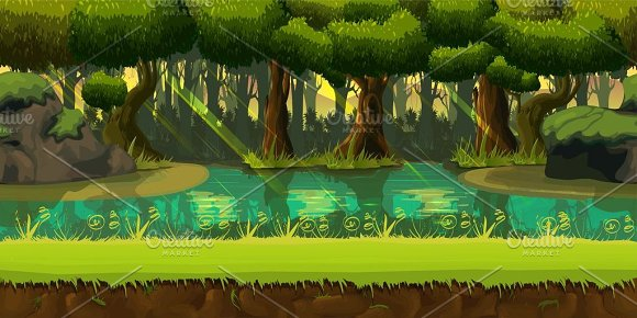 Forest background illustrations creative market - 2d nature wallpapers ...