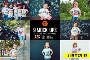 Kids T-Shirt Mock-Up's Mega Bundle
