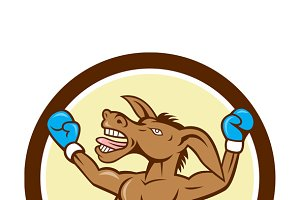 Donkey Boxing Celebrate Circle Carto