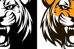 Ferocious tiger head