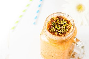 Pumpkin smoothie with flax seeds