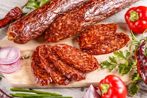 Salami sausages slices