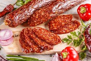Salami sausages slices