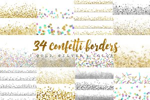 gold, silver & colorconfetti borders