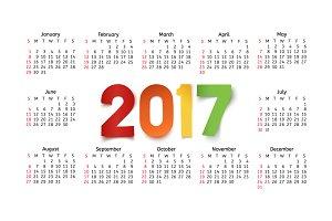 2017 calendar template.
